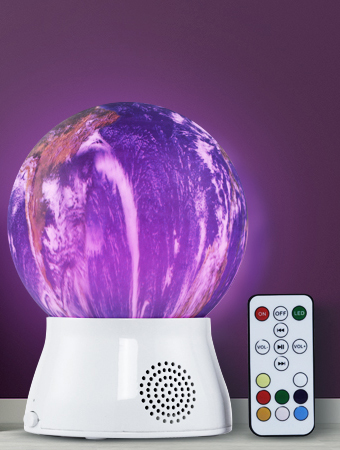 ROTATING GLOBE LAMP WITH BLUETOOTH SPEAKER / REMOTE CONTROL